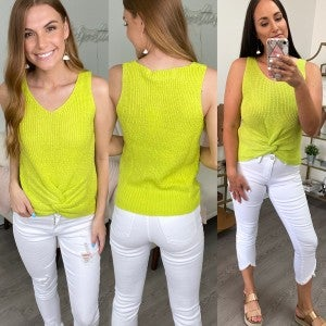 Brunch in the Hamptons Lime Sweater Tank