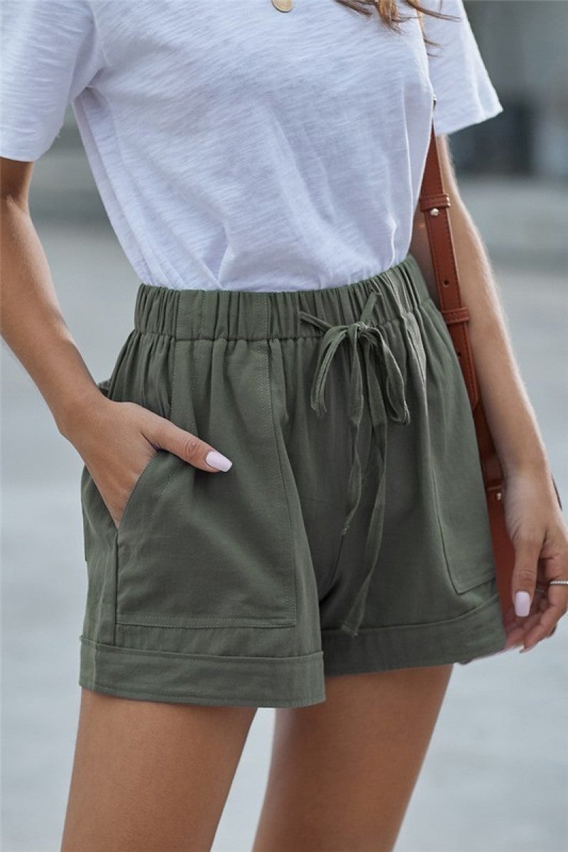 Summer Leisure Tie Waist Relaxed Fit Shorts