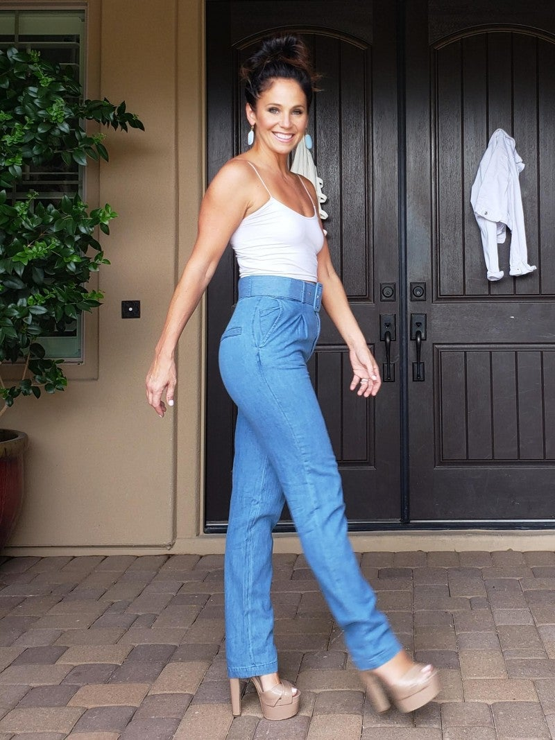 Blue Chambray Denim High-Waisted Pleated & Belted Skinny Pants