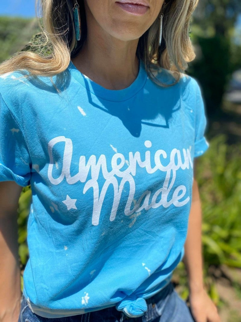 Sky Blue Hand Bleached AMERICAN MADE Bella Canvas Unisex Fit Tee