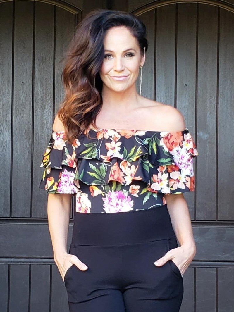Black Floral Double Ruffle Off the Shoulder Bodysuit