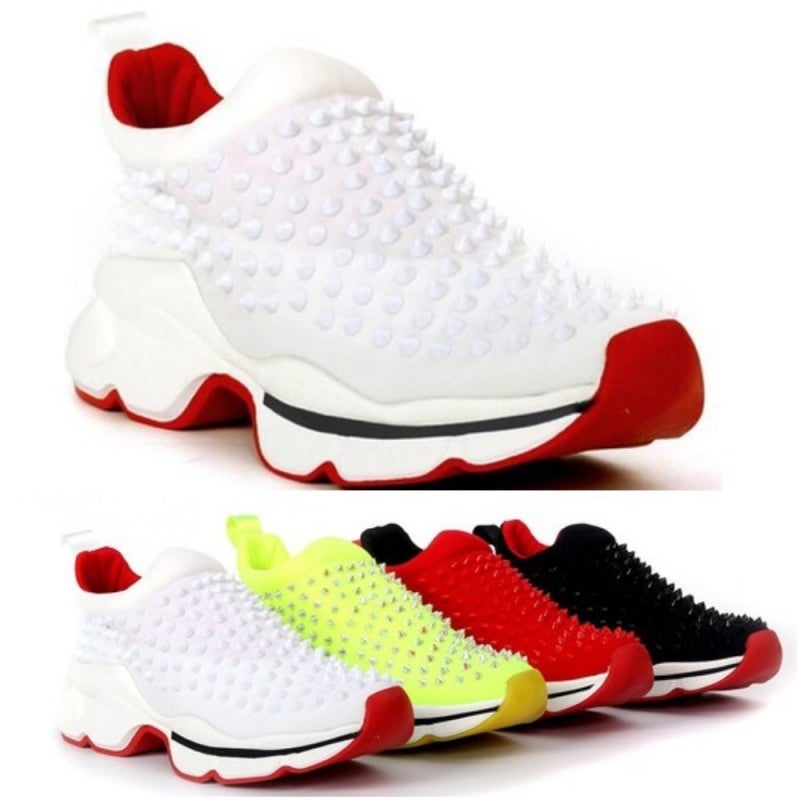 White Slip on Red Bottom Spike Sneakers