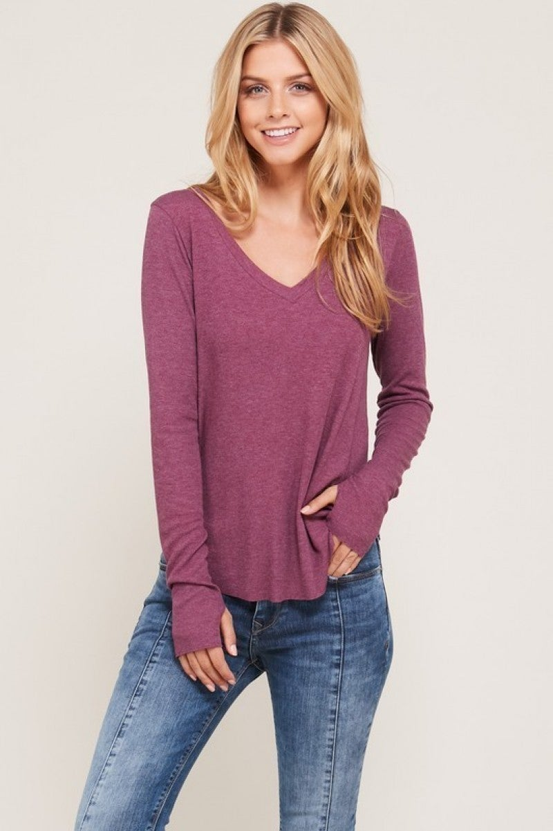 Wine Thumb Hole V-Neck Long Sleeve  Raw Edge Casual Top