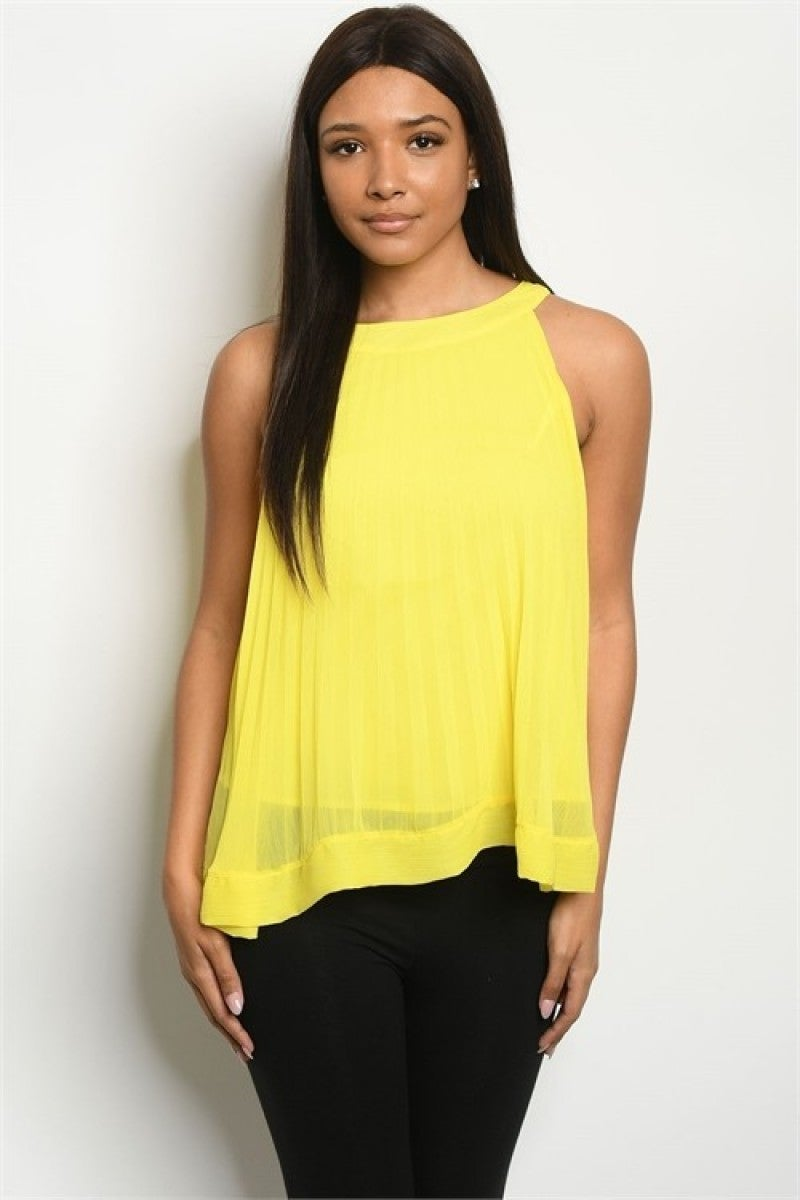 Bright Yellow Round Neck Double Layer Sleeveless Blouse