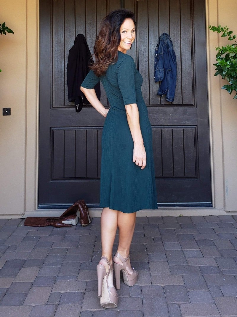 Hunter Green 3/4 Sleeve V Neck Button Detail Tea Length Dress