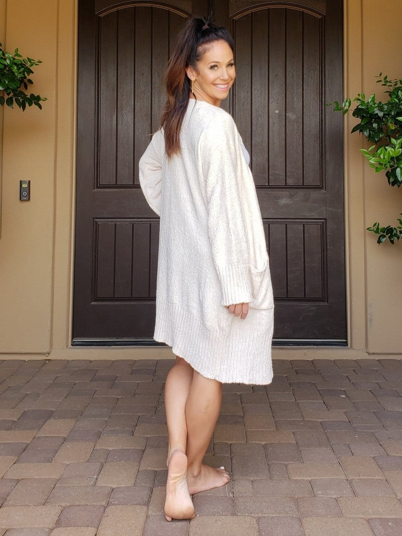 Ivory Yummy Soft Long Sleeve Open Front Chunky Long Line Sweater Cardigan
