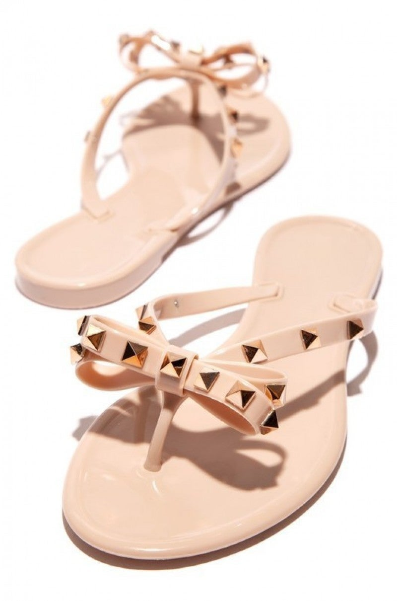 Nude Spiked Studded Bow Valentino Look-A-Like Jelly Sandals