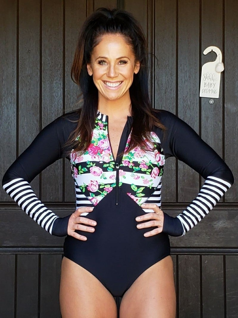 Black White & Pink Floral Stripe Long Sleeve One Piece Rashguard Swim Suit with Thumbholes