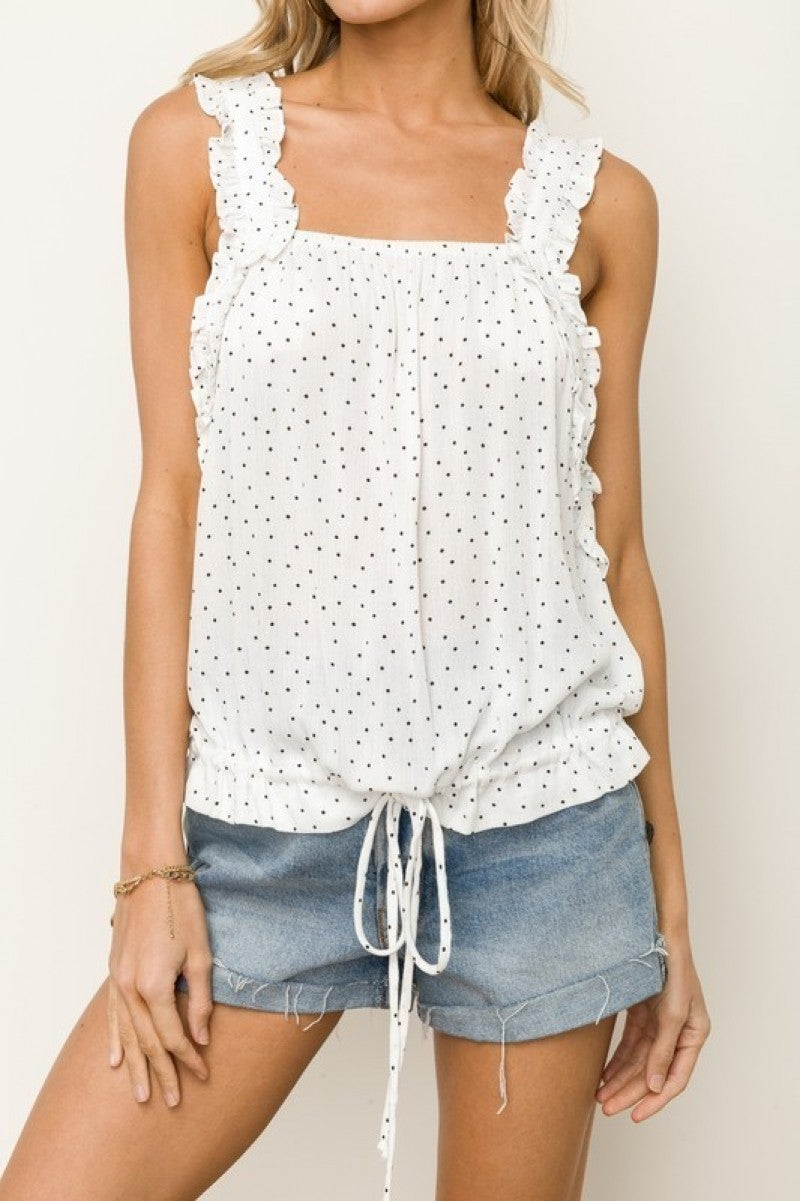 Dotted White Ruffle Strap Cinched Waist Tank