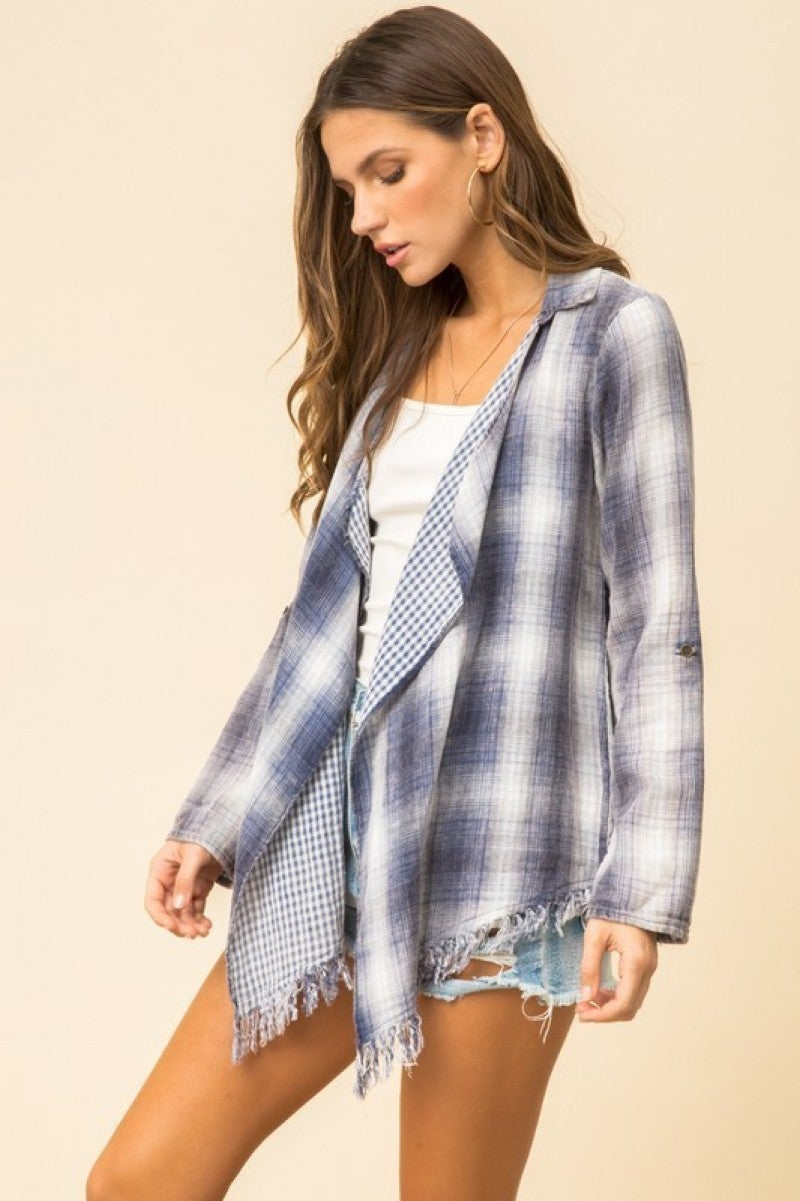 Denim Plaid Frayed Edge Draped Cozy Shirt Style Cardigan