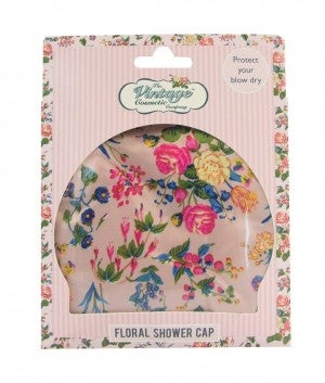 Pink Floral Satin Shower Cap - Vintage Cosmetics Company