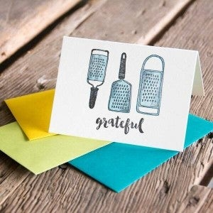 'Grateful' - Thank you card with vintage graters