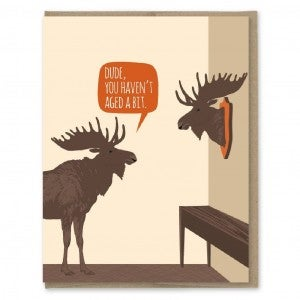 Aged Moose Trophy Birthday Card