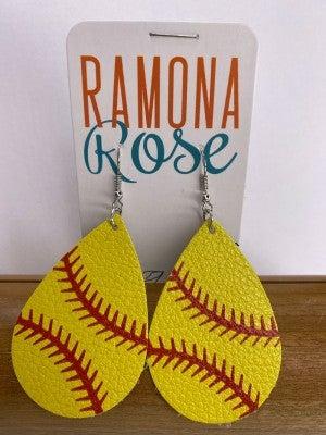 Softball light-weight drop earrings *Final Sale*