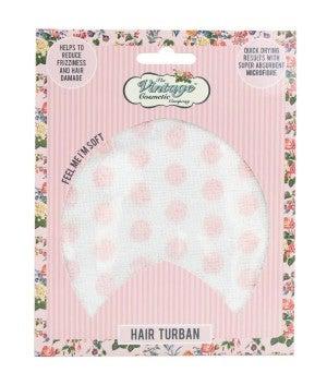 Pink Polka Dot Hair Turban - Vintage Cosmetic Company`