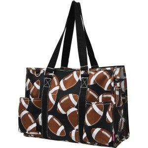 Football Zippered Caddy Organizer Tote Bag