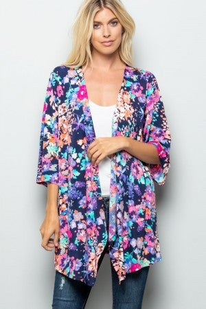 Floral stretchy summer kimono