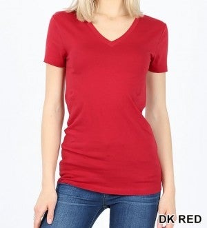 Classic Solid V-neck Tee (sizes S - L)