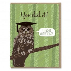 Learned All the Things Owl Graduation Card