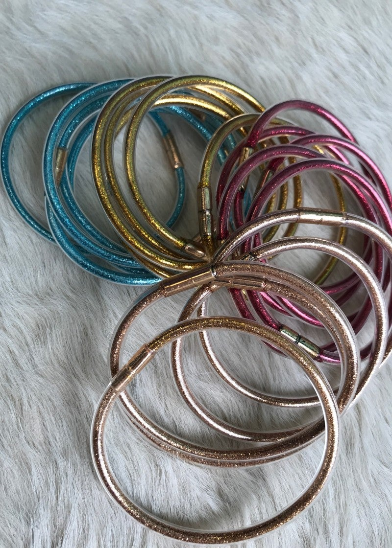 Stacked Glitter Bracelets | Gold, Blue, Rose Gold, Red