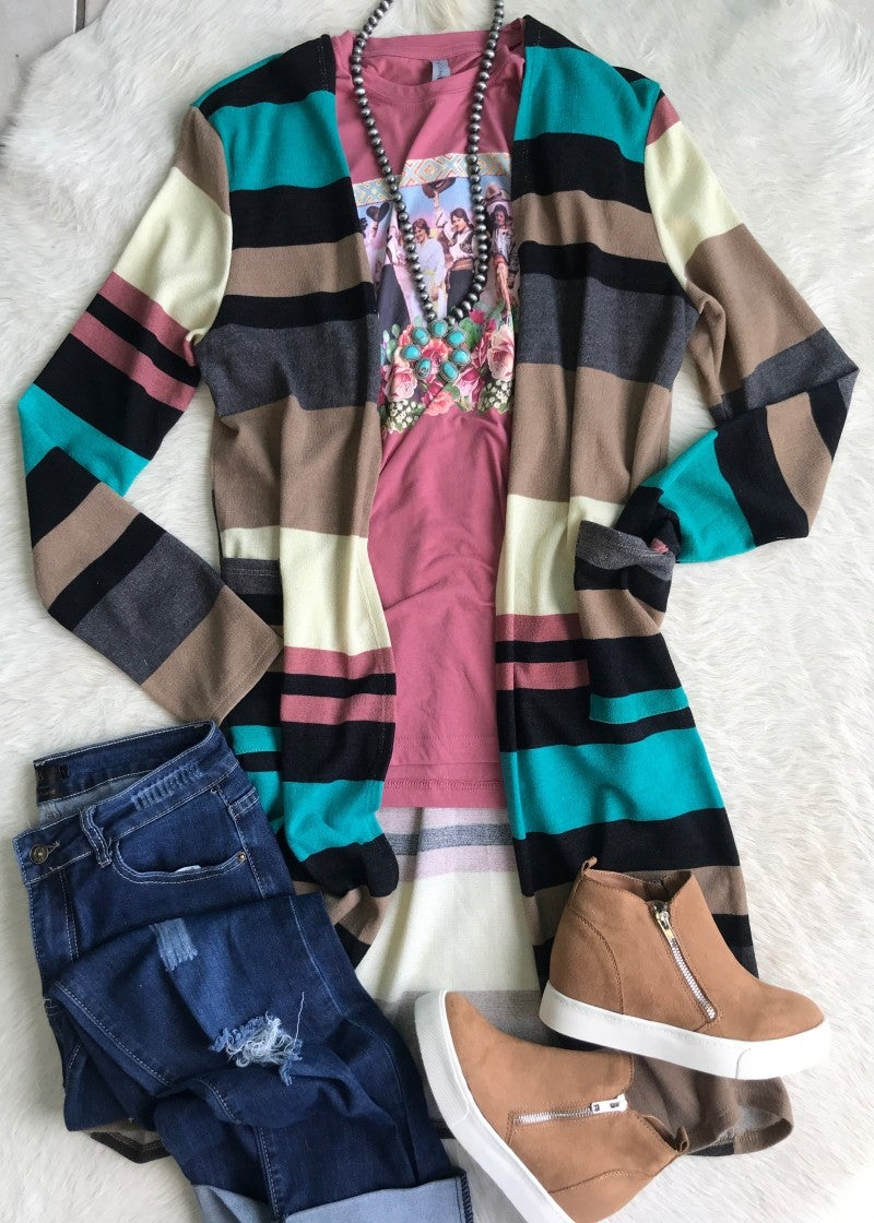 Jade and Rose Striped Cardigan Duster | Small to 3X