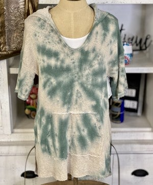 Short Sleeve Hooded Ombre French Terry Top