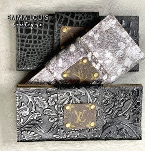 Large Leather Upcycled LV Wallet