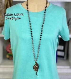 LV Upcycled Teardrop Bling Medallion Hand Knotted Beaded Necklace