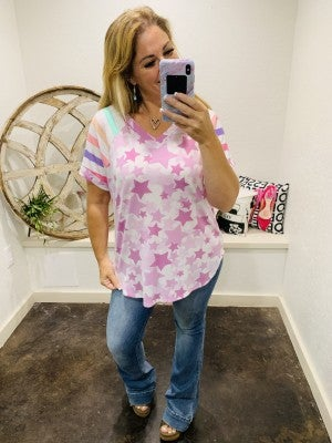 honeyme V-Neck with Pastel Stars and Striped Sleeve Contrast