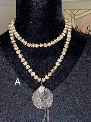 Beaded Czech Crystal Upcycled LV Necklace