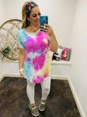 honeyme Short Sleeve Tie Dye Tunic Top with Hi-Lo Hem