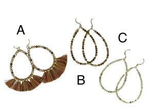 Teardrop Hoop Earrings With Small Beads