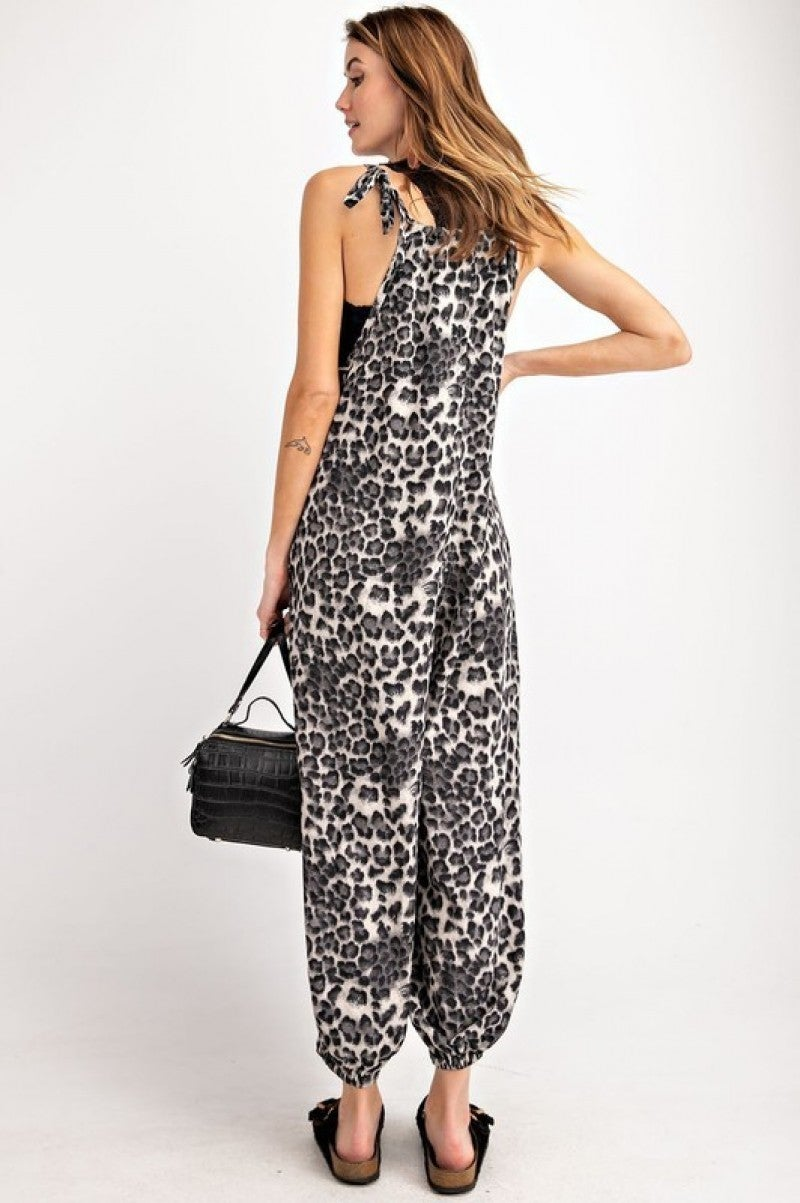 Animal Print Poly Crepe Woven Jumpsuit