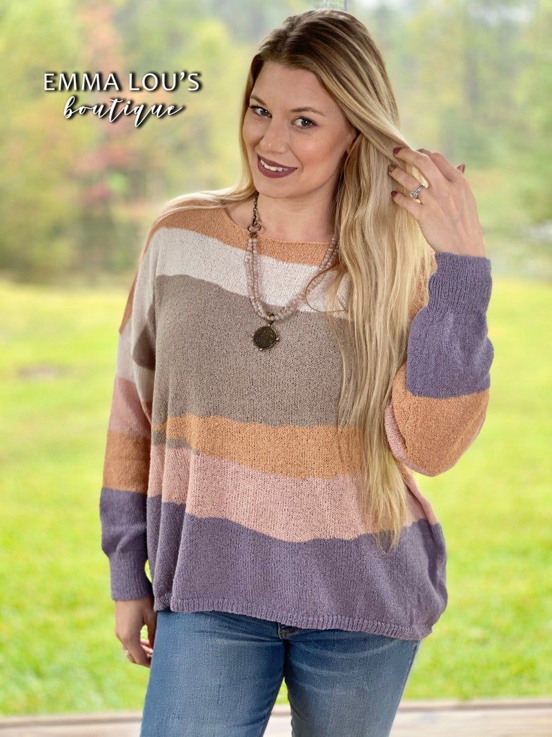 Lightweight Color Block Knit Sweater