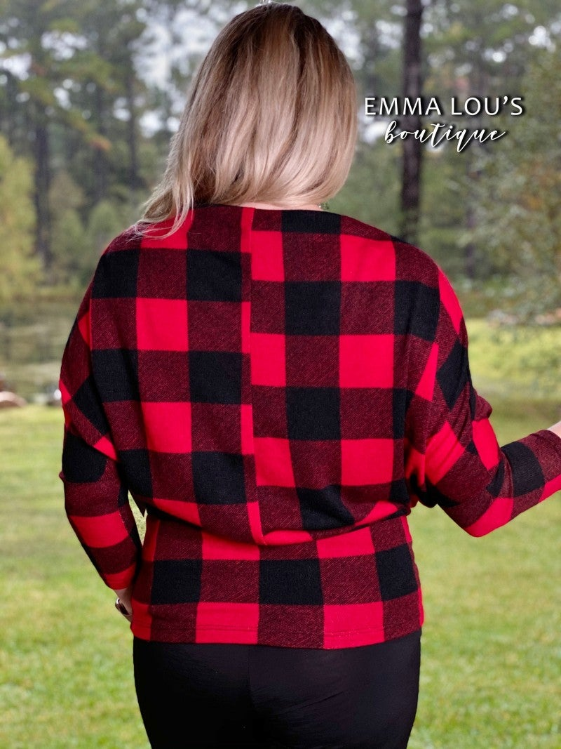 Off the Shoulder Plaid Brushed Hacci Top