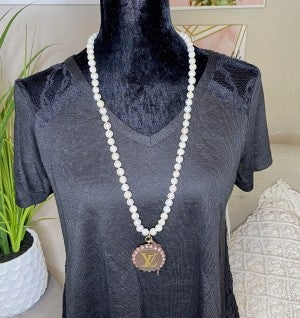 Up-cycled LV Leather Medallion Necklace and Cultured Pearls