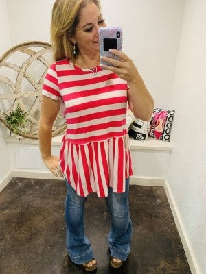 honeyme Oatmeal and Pink Striped Tiered Top