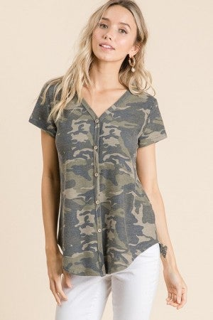 Camo Decorative Button Short Sleeve Top on Soft French Terry Fabric
