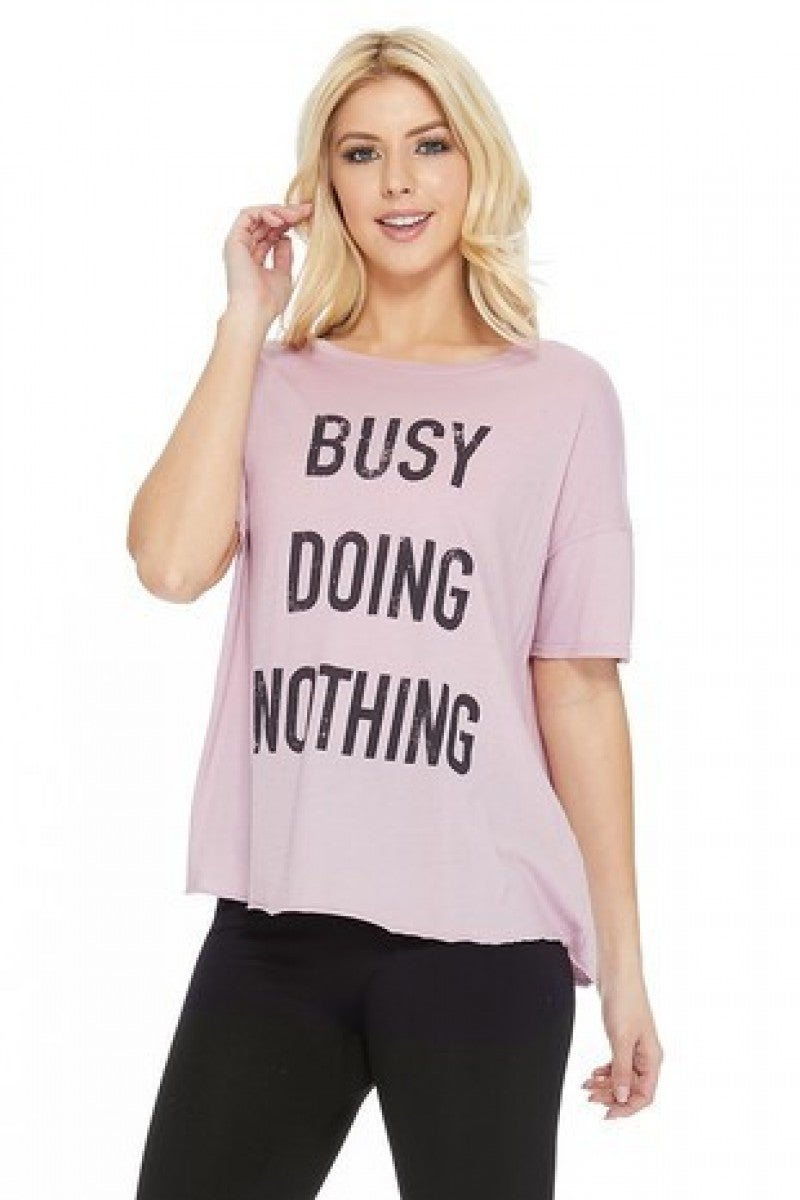 'Busy Doing Nothing' Distressed Graphic Tee