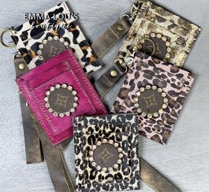 Leather LV Up-Cycled Bling  I.D. Wristlet