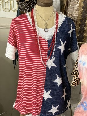 Red, White, and Blue Short Sleeve Soft Knit V-Neck Top