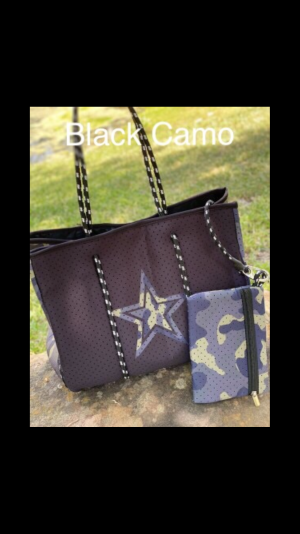 Neoprene Carry All STAR Tote Bag with Inner Pocket and Snap Enclosure