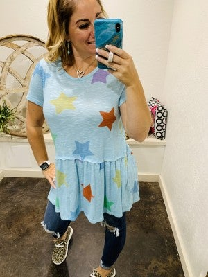 honeyme Short Sleeve Blue Empire Waist Top with Star Print