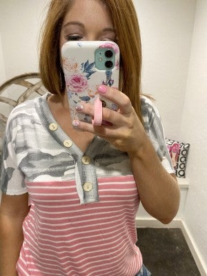 honeyme Short Sleeve Camo and Striped Top with Faux Button Accents