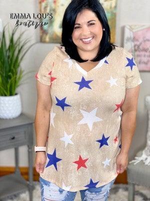 honeyme Short Sleeve V-Neck Top with Star Print