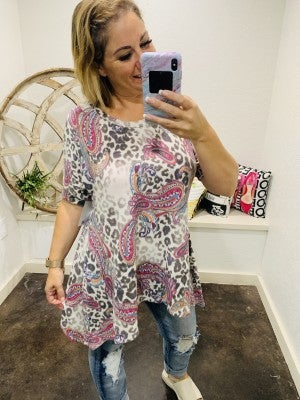 honeyme Grace Cold Shoulder Top with Paisely Design