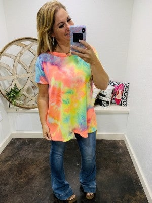honeyme French Terry Tie Dye Short Sleeve top
