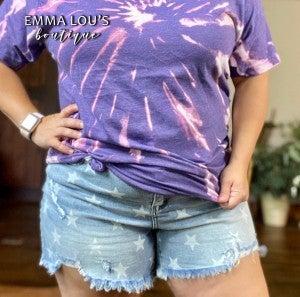 "Judy Blue 3"" Star Printed High Waist Destroyed Denim Shorts"