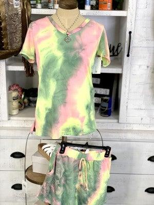 honeyme Two Piece Tie-Dye Short Sleeve Top and Drawstring Waist Loungewear Set
