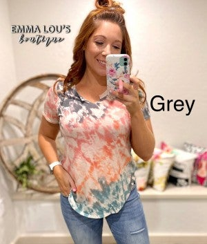 French Terry Tie Dye Printed Short Sleeve Top with Cutout Neckline